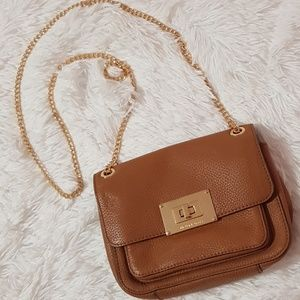 MICHAEL KORS GENUINE CROSSBODY BAG PURSE TAN GOLD